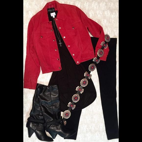 Jackets & Blazers - Red Vintage Suede Jacket, Medium
